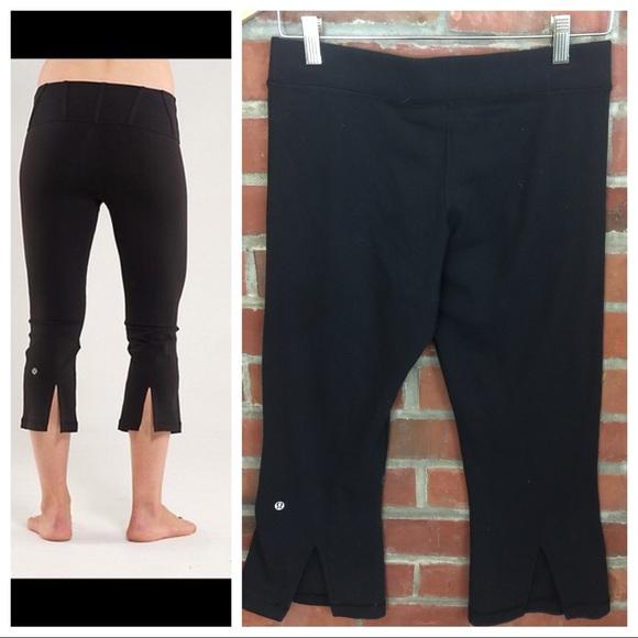 f706736dba826 lululemon athletica Pants - LuluLemon Tadasana Crop Capri With Slit Black